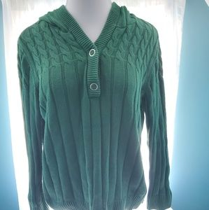 Women's green v-neck hooded sweater